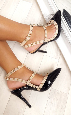 Andrea Multi Strap T-Bar Studded Court Heels