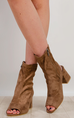 Miley Peep Toe Ankle Boots