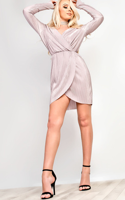 Liliana Pleated Plunge Dress