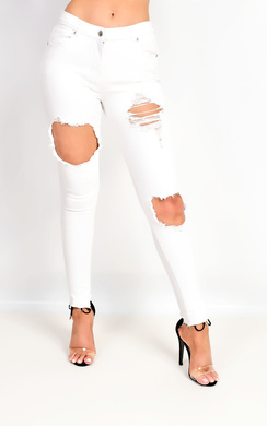 Zelli Mid Rise Ripped Skinny Jeans