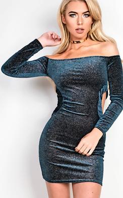 Mona Velour Off Shoulder Shimmer Bodycon Dress