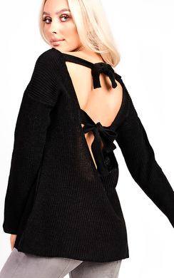 Polly Knitted Scoop Tie Back Jumper