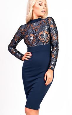 Lola Midi Metallic Print Long Sleeve Dress