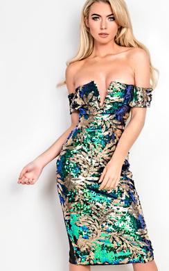 Selene Off Shoulder Embellished Bodycon Dress