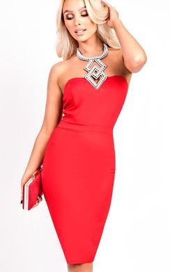Marcella Diamante Neckline Sleeveless Dress