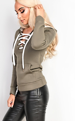 Ashlena Lace Up Hoodie