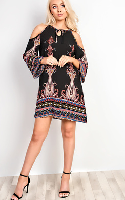 Merilee Cold Shoulder Pattern Dress
