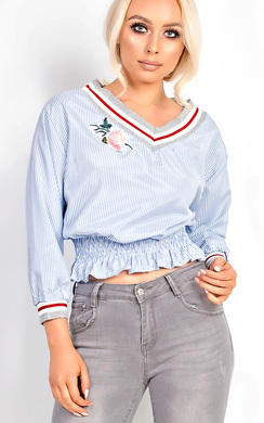 Belle Stripe Embroidered Top
