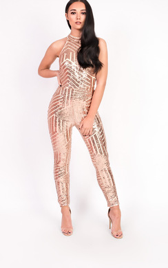 Kady Fitted Sequin High Neck Jumpsuit