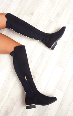 Cleo Faux Suede Studded Knee High Boots