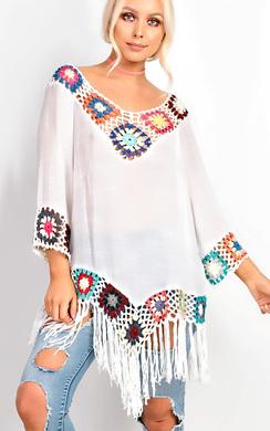 Maya Fringe Crochet Multi-Coloured Longline Kaftan Cover Up