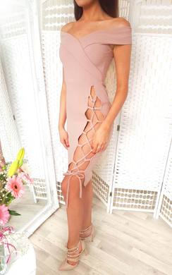 Aleshia Lace Up Bodycon Dress