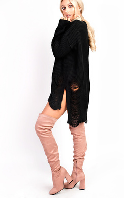 Zeina Distressed Oversized Thick Knit Jumper Dress