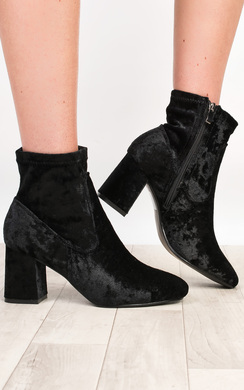 Alissa Velour Heeled Ankle Boots