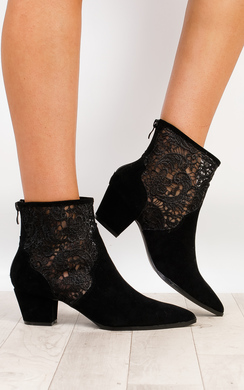 Nicki Mesh Faux Suede Heeled Ankle Boots