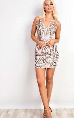 Oriana Sequin Bodycon Dress