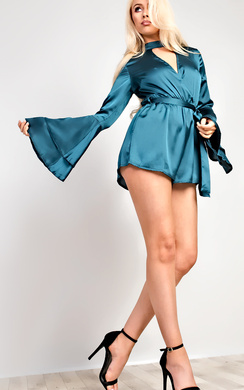 Juliana Flared Sleeve Plunge Playsuit