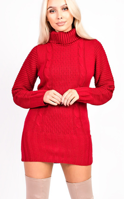 Ava Knitted Polo Neck Dress