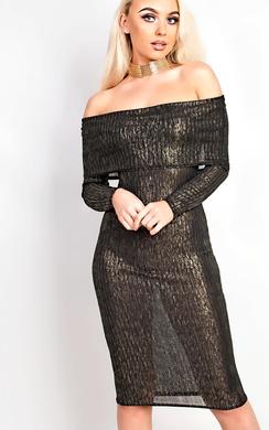 Emmalee Off Shoulder Ribbed Bodycon Dress
