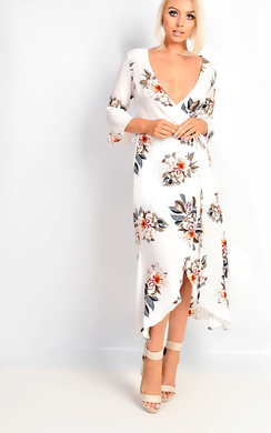 Tayna Floral Flute Sleeve Wrap Front Maxi Dress