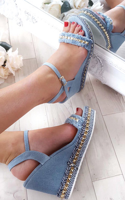 Yasmin Denim Studded Wedge