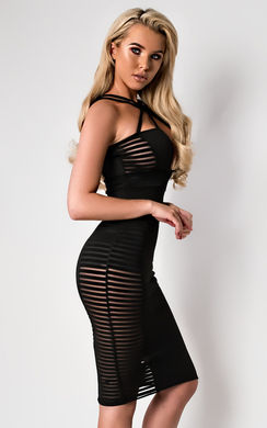 Hollie Mesh Stripe Bodycon Dress