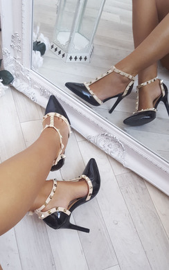 Valeria Patent T-Bar Studded Court Heels
