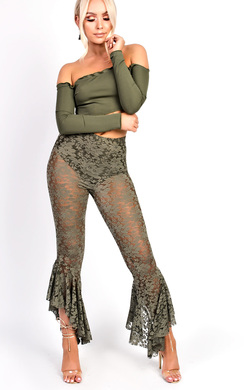 Terri High Waisted Lace Frill Trouser