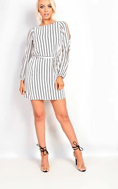Stacia Cold Shoulder Stripe Dress