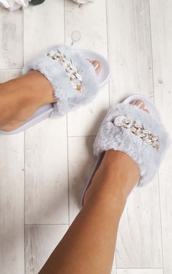 Loula Faux Fur Chain Sliders