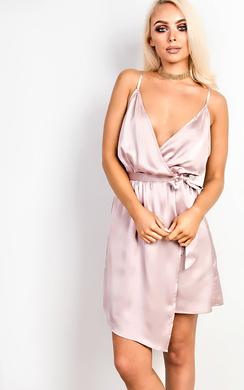 Poppy Asymmetric Satin Dress