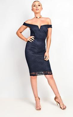 Ophelia Bardot Lace Midi Dress