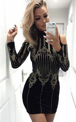 Crystal Velour Cold Shoulder Bodycon Dress