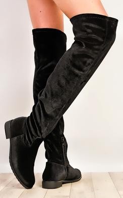 Jewels Flat Velour Knee High Boots