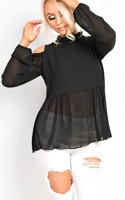 Inessa Cut Out Pleated Frill Blouse