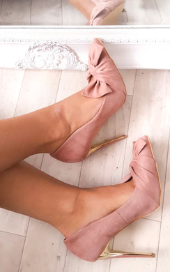 Miley Bow Faux Suede Heels