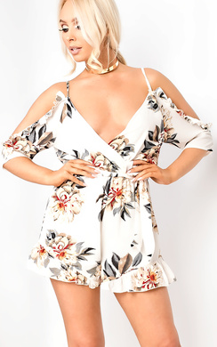 Rozeena Cold-shoulder Floral Playsuit