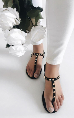 Christy Faux Suede Studded Sandals