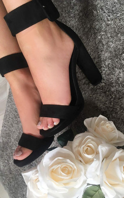 Lilly Faux Suede Buckle Platform Heels