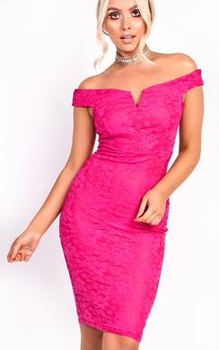 Jenni Lace Bardot Midi Dress