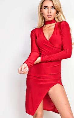 Evy Choker Gathered Bodycon Dress