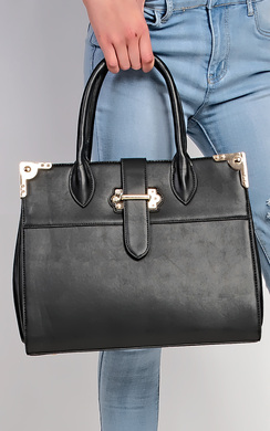 Cordillia Gold Buckle Faux Leather Tote Bag