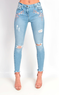 Vita Floral Embroidered Skinny Jeans