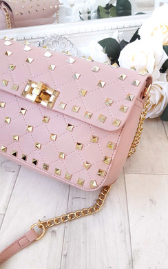 Liah Quilted Gold Studded Shoulder Bags