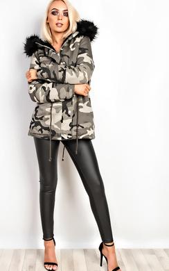 Kristina Camo Faux Fur Parka Jacket