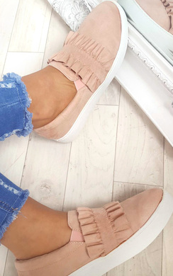 Nessa Frill Faux Suede Trainer
