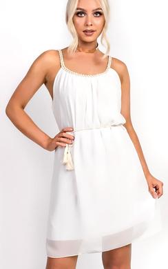 Hestia Pleated Tie Waist Chiffon Dress