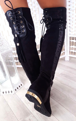 Amy Faux Suede Sequin Lace Up Knee High Boots