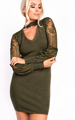Lipsina Lace Sleeve Choker Stretch Jumper Dress