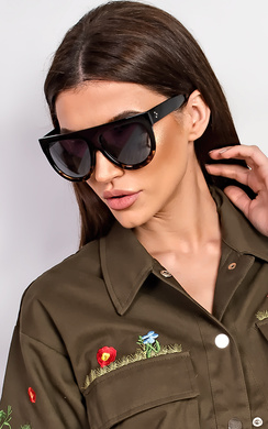Jenner Tortoise Shell Flat Bar Sunglasses